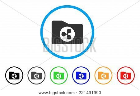 Ripple Purse rounded icon. Style is a flat gray symbol inside light blue circle with additional color variants. Ripple Purse vector designed for web and software interfaces.