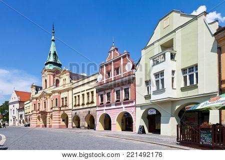 CZECH REPUBLIC, MELNIK - APR 27, 2016: Main square with town hall, town Melnik, Central Bohemia,Czech republic