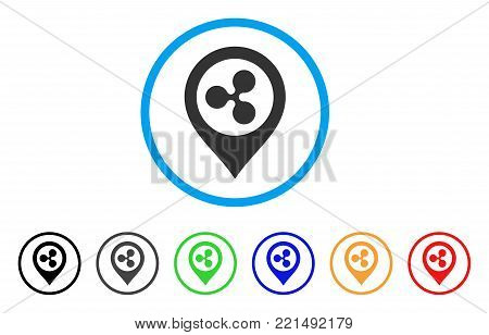 Ripple Map Marker rounded icon. Style is a flat gray symbol inside light blue circle with additional color variants. Ripple Map Marker vector designed for web and software interfaces.