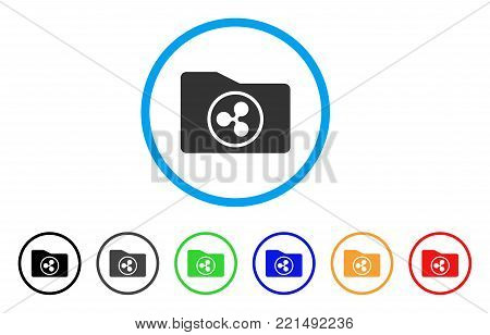 Ripple Purse rounded icon. Style is a flat grey symbol inside light blue circle with bonus color variants. Ripple Purse vector designed for web and software interfaces.