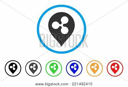 Ripple Map Marker rounded icon. Style is a flat grey symbol inside light blue circle with bonus color variants. Ripple Map Marker vector designed for web and software interfaces.