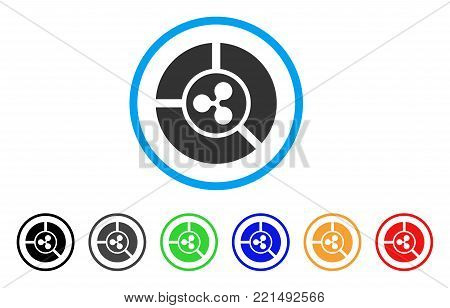 Ripple Diagram rounded icon. Style is a flat grey symbol inside light blue circle with bonus color versions. Ripple Diagram vector designed for web and software interfaces.
