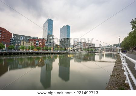 Isozaki Towers, Bilbao, - April 24, 2015: Isozaki towers are modern buildings representing new era for a previously industrial based city in Bilbao