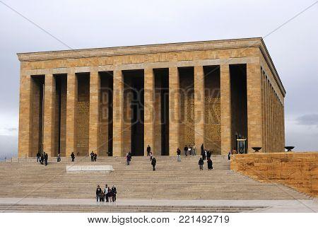 Ankara, Turkey  - Nov 01, 2009: Ataturk Mausoleum, Anitkabir, monumental tomb of Mustafa Kemal Ataturk, greatest leader,first president of Turkey in Ankara, Turkey