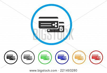 Cryptocurrency Bank Cards rounded icon. Style is a flat grey symbol inside light blue circle with additional color variants. Cryptocurrency Bank Cards vector designed for web and software interfaces.