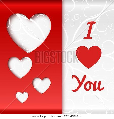Romantic beautiful poster with love confession hearts ornate gray and red paper vector illustration