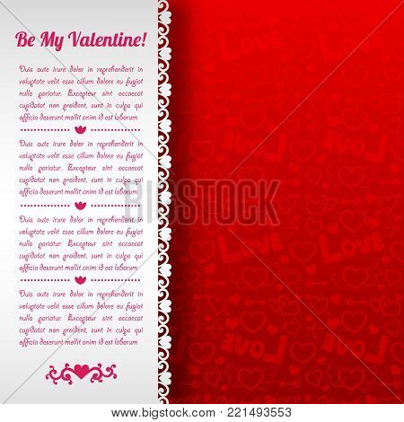 Amorous celebrating card with love confession text white paper background and red icons pattern vector illustration