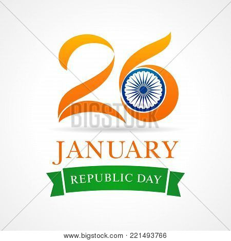 Illustration of Happy Indian Republic day 26 January celebration, date on which the Constitution of India formed. Vector poster or banner background Indian Republic day 26 January for website header