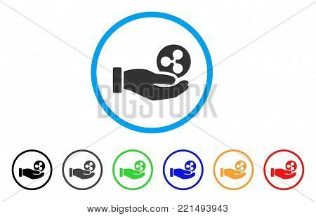 Hand Take Ripple rounded icon. Style is a flat gray symbol inside light blue circle with additional colored variants. Hand Take Ripple vector designed for web and software interfaces.