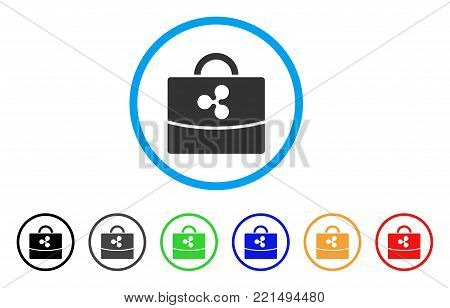 Ripple Accounting Case rounded icon. Style is a flat grey symbol inside light blue circle with bonus colored versions. Ripple Accounting Case vector designed for web and software interfaces.