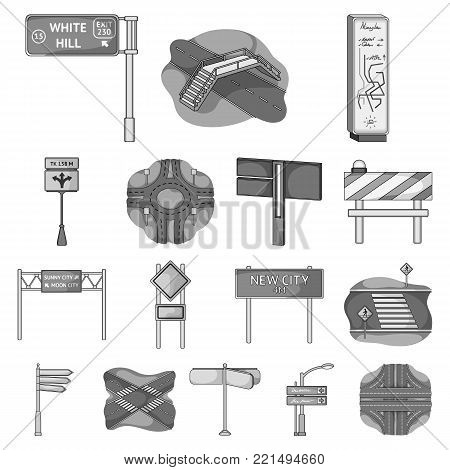 Road junctions and signs monochrome icons in set collection for design.Pedestrian crossings and signs vector symbol stock illustration.
