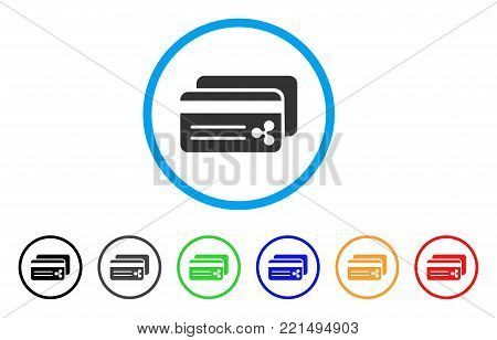 Ripple Bank Cards rounded icon. Style is a flat gray symbol inside light blue circle with bonus colored variants. Ripple Bank Cards vector designed for web and software interfaces.