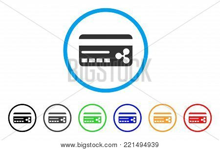 Ripple Banking Card rounded icon. Style is a flat grey symbol inside light blue circle with additional colored versions. Ripple Banking Card vector designed for web and software interfaces.