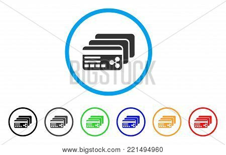 Ripple Banking Cards rounded icon. Style is a flat gray symbol inside light blue circle with additional colored variants. Ripple Banking Cards vector designed for web and software interfaces.