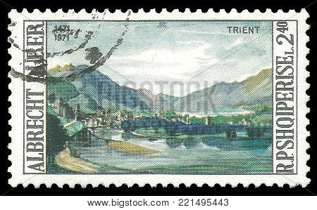 Albania - circa 1971: Stamp printed by Albania, Edition on 500th anniversary of Artist, shows Painting View of Trent by Albrecht Durer, circa 1971