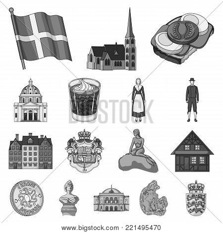 Country Denmark monochrome icons in set collection for design. Travel and attractions Denmark vector symbol stock illustration.