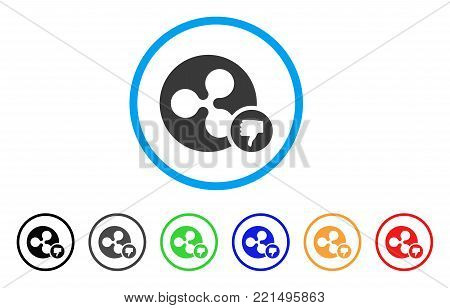 Ripple Coin Thumb Down rounded icon. Style is a flat gray symbol inside light blue circle with additional colored variants. Ripple Coin Thumb Down vector designed for web and software interfaces.