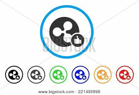 Ripple Coin Thumb Up rounded icon. Style is a flat gray symbol inside light blue circle with bonus color variants. Ripple Coin Thumb Up vector designed for web and software interfaces.