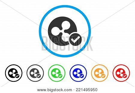 Ripple Coin Valid rounded icon. Style is a flat grey symbol inside light blue circle with bonus color variants. Ripple Coin Valid vector designed for web and software interfaces.