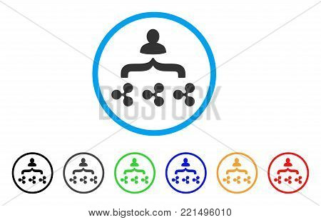 Ripple Collector rounded icon. Style is a flat gray symbol inside light blue circle with bonus colored variants. Ripple Collector vector designed for web and software interfaces.