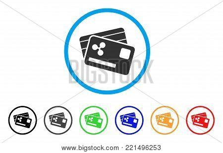 Ripple Credit Cards rounded icon. Style is a flat gray symbol inside light blue circle with additional color variants. Ripple Credit Cards vector designed for web and software interfaces.