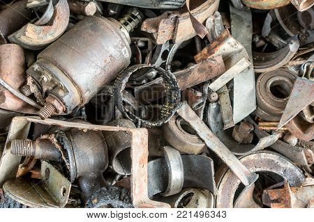 old rusty car parts and bearings, recyclable concept