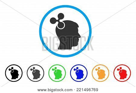 Ripple Imagination rounded icon. Style is a flat grey symbol inside light blue circle with bonus color versions. Ripple Imagination vector designed for web and software interfaces.