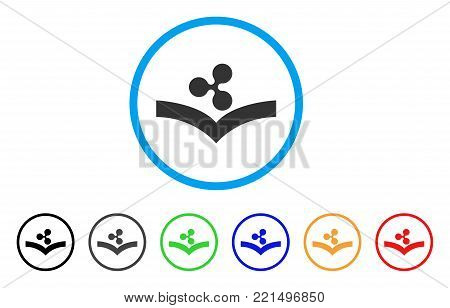 Ripple Knowledge rounded icon. Style is a flat gray symbol inside light blue circle with additional color versions. Ripple Knowledge vector designed for web and software interfaces.