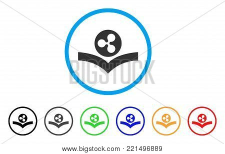 Ripple Knowledge Book rounded icon. Style is a flat grey symbol inside light blue circle with bonus colored versions. Ripple Knowledge Book vector designed for web and software interfaces.