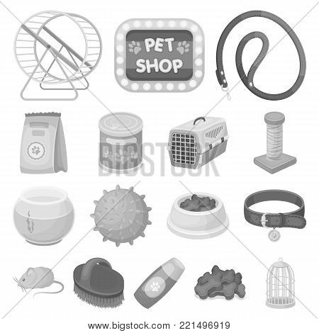Pet shop monochrome icons in set collection for design.The goods for animals vector symbol stock  illustration.