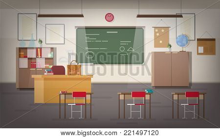 School classroom interior with green wall chalkboard, place for teacher, pendant lights, desks, chairs and other furnishings for studying and teaching. Colorful vector illustration in flat style