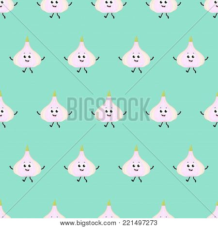 pattern with cartoon garlic on green, garlic background with smiles and various grimaces