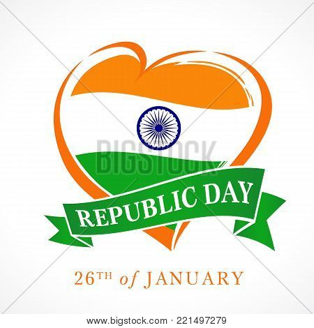 Illustration of Happy Indian Republic day 26 January celebration with heart in national flag colors. Vector poster or banner background Indian Republic day 26 January for website header