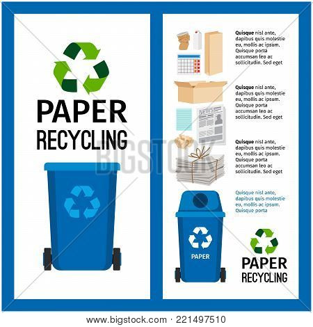 Garbage blue container info with paper trash elements, vector illustration