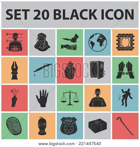 Crime and Punishment black icons in set collection for design.Criminal vector symbol stock  illustration.