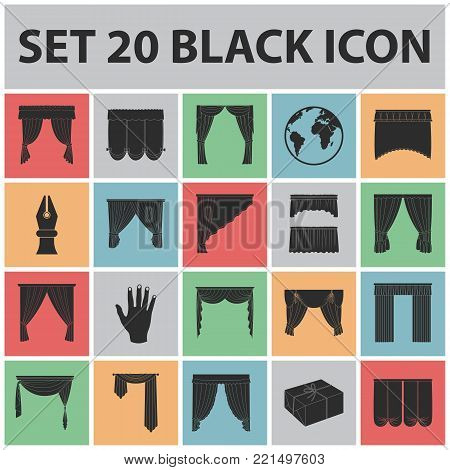 Different kinds of curtains black icons in set collection for design. Curtains and lambrequins vector symbol stock  illustration.