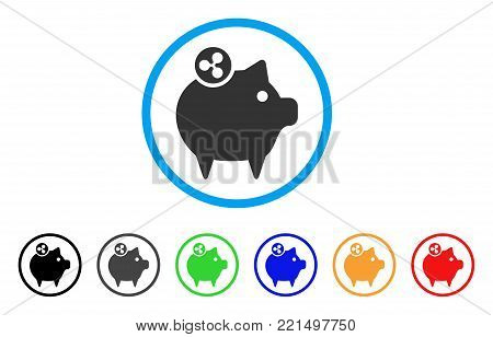 Ripple Piggy Bank rounded icon. Style is a flat grey symbol inside light blue circle with bonus color versions. Ripple Piggy Bank vector designed for web and software interfaces.