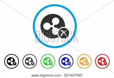Ripple Reject rounded icon. Style is a flat grey symbol inside light blue circle with bonus colored versions. Ripple Reject vector designed for web and software interfaces.