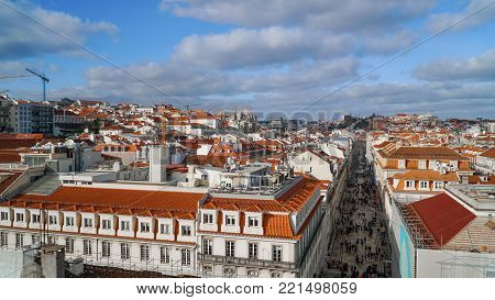 Lisbon Panorama. Aerial view. Lisbon is the capital and the largest city of Portugal. Lisbon is continental Europe's westernmost capital city and the only one along the Atlantic coast. Lisbon lies in the western Iberian Peninsula on the Atlantic Ocean
