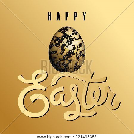 Easter card with realistic Easter egg and inscription