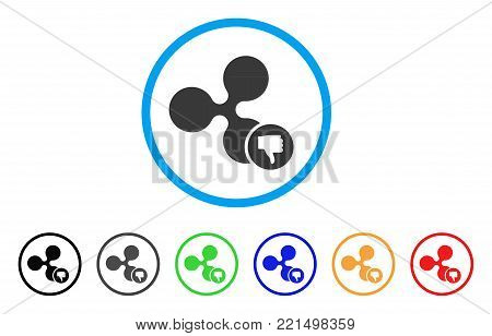 Ripple Thumb Down rounded icon. Style is a flat gray symbol inside light blue circle with bonus color versions. Ripple Thumb Down vector designed for web and software interfaces.