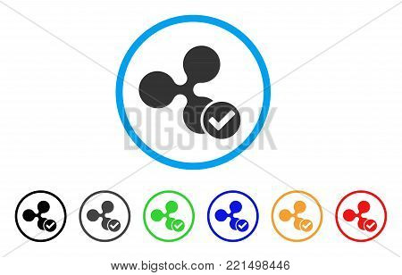 Ripple Valid rounded icon. Style is a flat gray symbol inside light blue circle with bonus color variants. Ripple Valid vector designed for web and software interfaces.