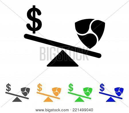 Dollar Nem Balance Swings icon. Vector illustration style is a flat iconic dollar nem balance swings black symbol with grey, yellow, green, blue color versions.