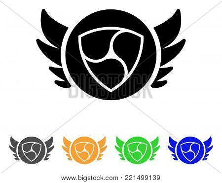 Nem Angel Investment icon. Vector illustration style is a flat iconic nem angel investment black symbol with grey, yellow, green, blue color variants. Designed for web and software interfaces.