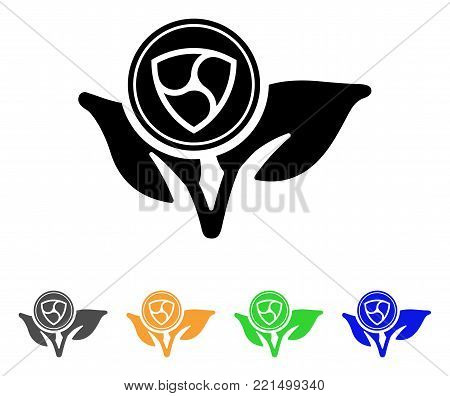 Nem Coin Eco Startup icon. Vector illustration style is a flat iconic nem coin eco startup black symbol with gray, yellow, green, blue color versions. Designed for web and software interfaces.