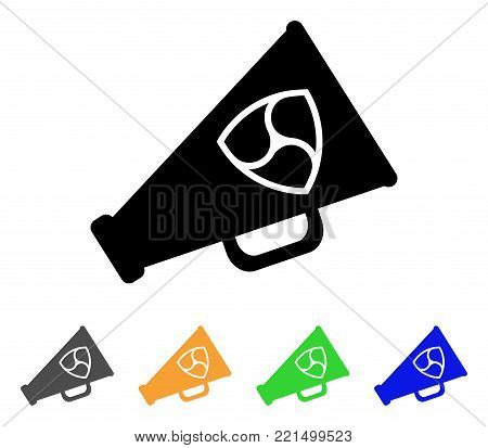 Nem Megaphone icon. Vector illustration style is a flat iconic nem megaphone black symbol with gray, yellow, green, blue color versions. Designed for web and software interfaces.