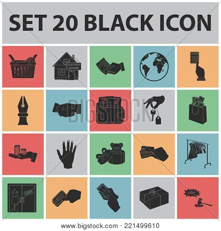 E-commerce and business black icons in set collection for design. Buying and selling vector symbol stock illustration.