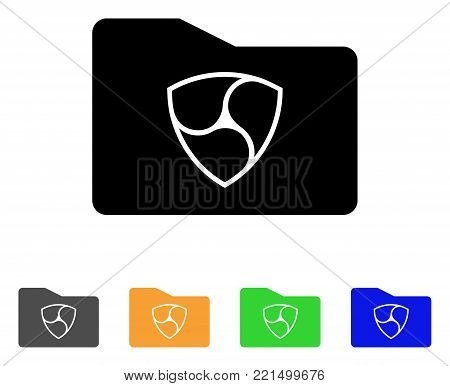 Nem Wallet icon. Vector illustration style is a flat iconic nem wallet black symbol with grey, yellow, green, blue color versions. Designed for web and software interfaces.
