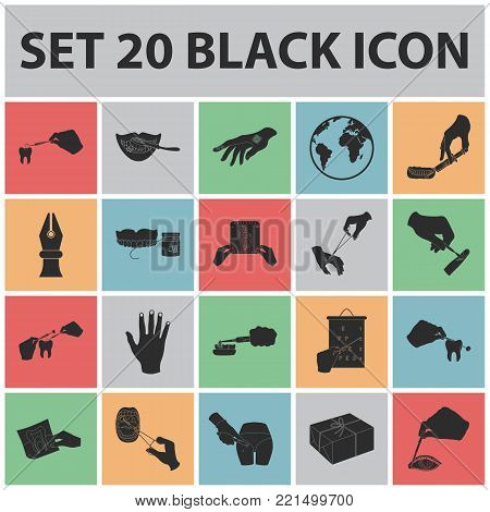 Manipulation by hands black icons in set collection for design. Hand movement in medicine vector symbol stock illustration.