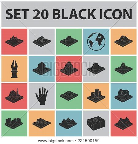 Mountains, massive black icons in set collection for design. The surface of the earth vector isometric symbol stock  illustration.